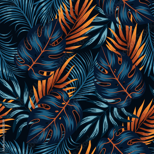 Botanical seamless tropical pattern with bright yellow and blue plants and leaves on a black background. Jungle leaf seamless vector floral pattern background.  Beautiful exotic plants.  - fototapety na wymiar