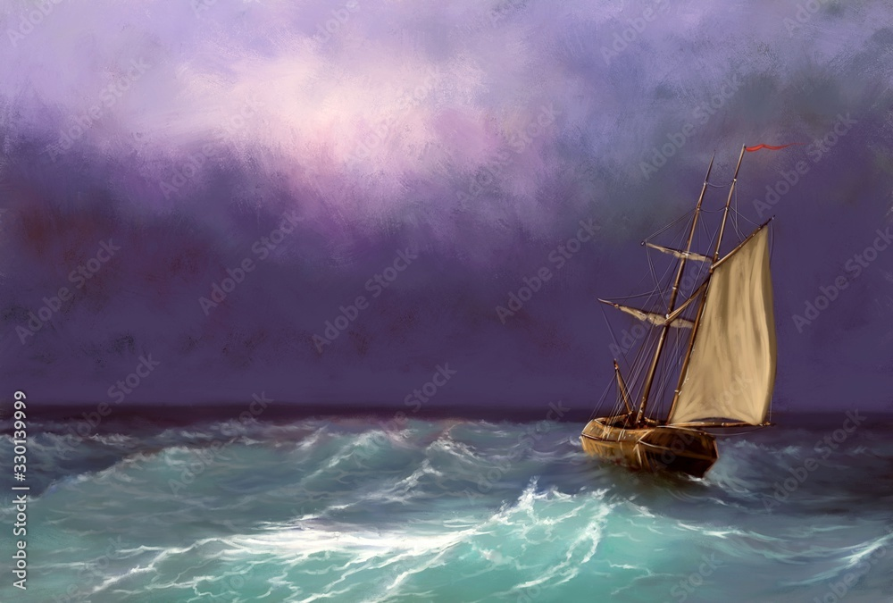 Fototapeta Oil paintings sea landscape, ship in the sea. Fine art.