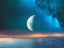 Starry Night  Moon On Blue  Sk...