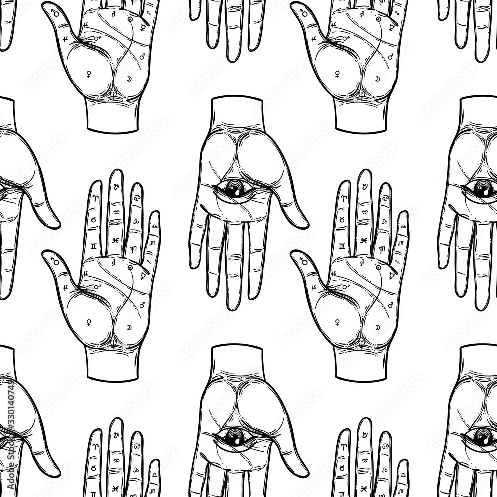 Fototapeta Vintage Hands with all seeing eye. Mystic, magic, background. Religion and the occultism with esoteric and masonic symbols. Medieval manuscript inspired. Vector seamless pattern in retro style.