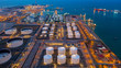 canvas print picture Aerial view oil and gas terminal storage tank farm,Tank farm storage chemical petroleum petrochemical refinery product, Business commercial trade fuel and energy transport by tanker vessel.