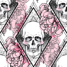 Human Skull With Peony, Rose A...