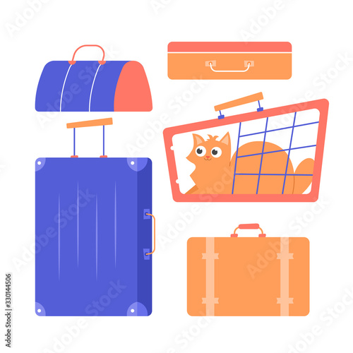 Suitcases, bags, carrying with a cat Wallpaper Mural