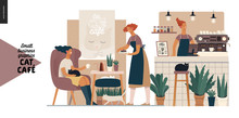 Cat Cafe - Small Business Graphics - Visitor And Waitress