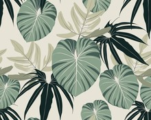Seamless Tropical Pattern With Colorful Leaves And Plants. Seamless Exotic Pattern With Tropical Plants. Exotic Wallpaper. Trendy Summer Hawaii Print.