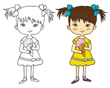 Cute Girl With Ice Cream Coloring Book With An Example