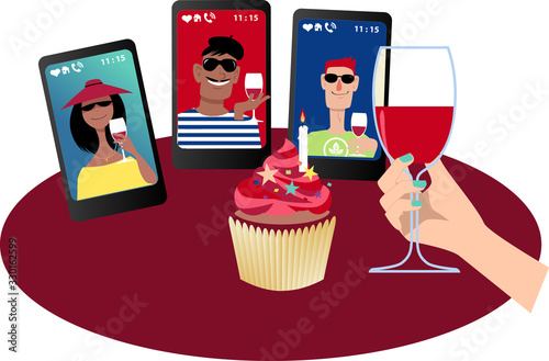 Foto Person having a birthday party with friends via video chat, EPS 8 vector illustr