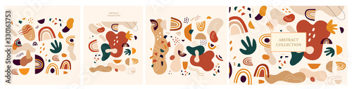Decorative abstract collection with colorful doodles. Hand-drawn modern illustration #330163753