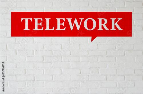 TELEWORKと書かれた壁 Wallpaper Mural