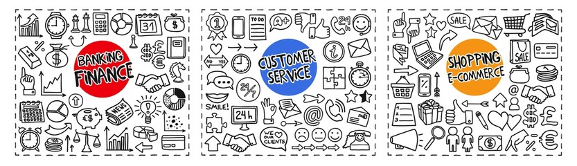 Finance and Banking, Customer Service and Shopping and e-Commerce doodle icons set