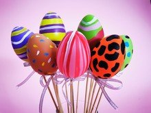 Holding The Colorful FAKE MOCKUP Fancy Easter Eggs To Celebrate The Festival Holiday