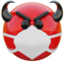 3D Render Of Evil Red Emoji Face With Horns In Medical Mask Protecting From Coronavirus 2019-nCoV, MERS-nCoV, Sars, Bird Flu And Other Viruses, Germs And Bacteria And Contagious Disease.
