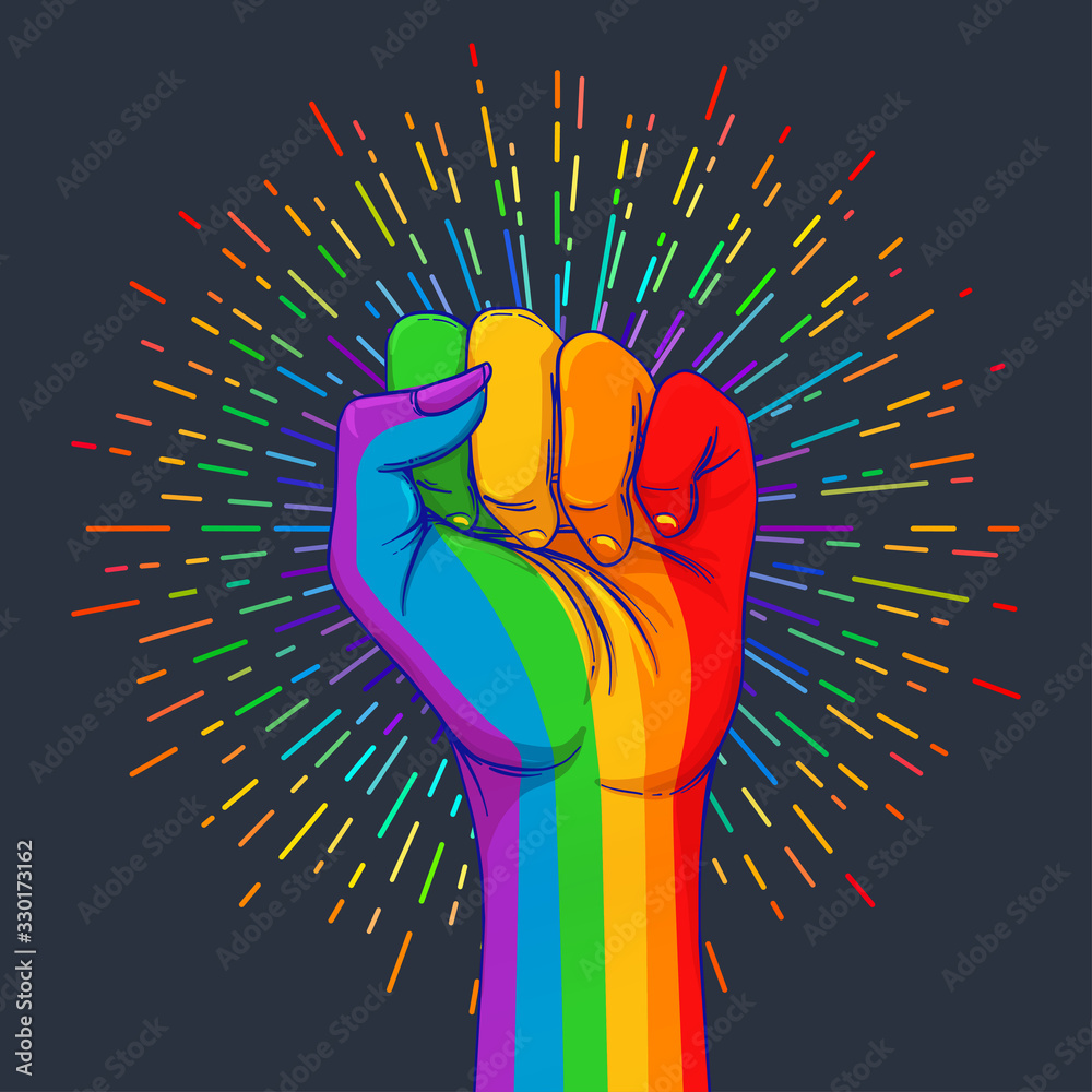 Fototapeta Rainbow colored hand with a fist raised up. Gay Pride. LGBT concept. Realistic style vector colorful illustration. Sticker, patch, t-shirt print, logo design.