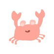 Crab ea animal in flat style isolated on white background. Vector cool ocean animal illustration Simple summer child design.