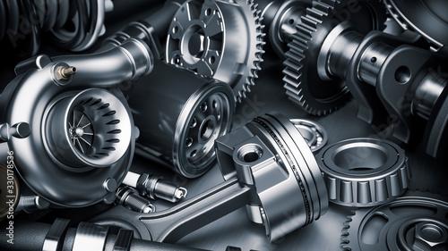 Fotografía Car engine parts. Closeup 3d