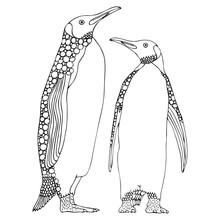Two Penguins. Hand Drawn Picture. Sketch For Anti-stress Adult Coloring Book In Zen-tangle Style. Vector Illustration  For Coloring Page, Isolated On White Background.