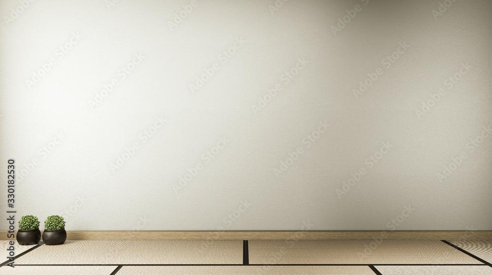 Fototapeta Empty room white on wooden floor interior design.3D rendering