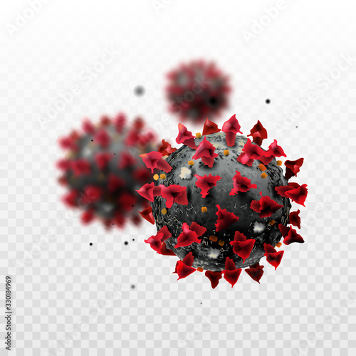 Photo COVID-19 Chinese coronavirus under the microscope on a transparent background
