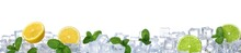 Ice Cubes, Mint And Citrus Fruits On White Background. Banner Design