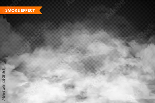 Obraz  Realistic fog, mist effect. Smoke isolated on transparent background. Vector vapor in air, steam flow. Clouds. - fototapety do salonu