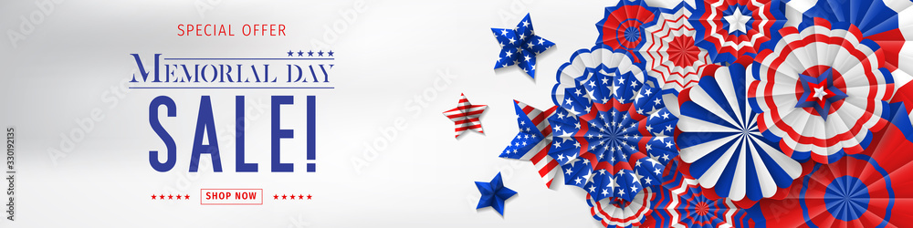 Fototapeta Banner for Memorial day sale design. Memorial day sign on a dark blue background with 3d percent symbol. Vector illustration for business promotion.