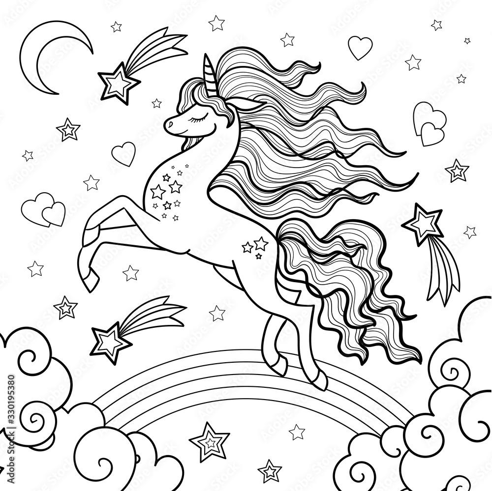 Fototapeta Unicorn running through the rainbow. Black and white image. Vector.