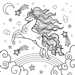 Unicorn running through the rainbow. Black and white image. Vector.