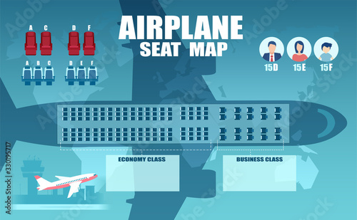 Cuadros en Lienzo Vector of an airplane seat chart, plan of passenger seats
