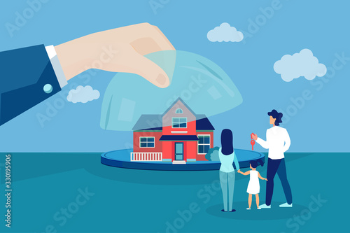 Vector of a family looking at a new house offered by real estate agent Canvas Print