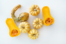 Pumpkins On The White Background