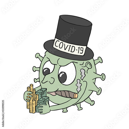 Photo Design of covid 19 virus earning money