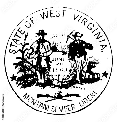 Seal of the state of West Virginia, 1876, vintage illustration Canvas-taulu