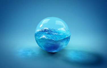 Beautiful background with a ball of water, sea and ocean. 3d illustration, 3d...