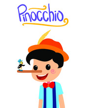 Pinocchio And Jiminy Cricket Tale Vectoral Illustration. Long Nose Pinocchio. For Children Book Covers, Magazines, Web Pages.