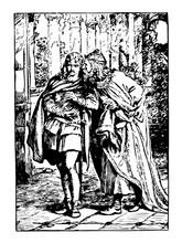 Claudius And Laertes, Vintage Illustration