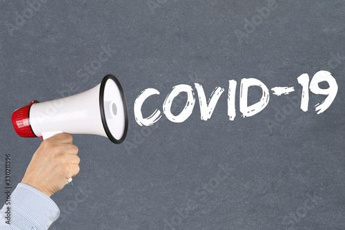 COVID-19 COVID Coronavirus corona virus disease ill illness megaphone Wallpaper Mural