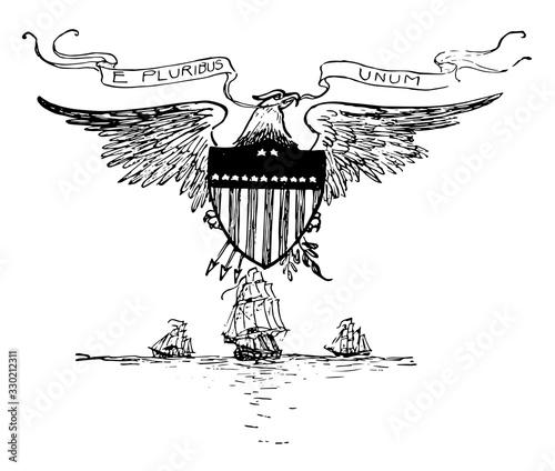 Vászonkép The United States motto prior to 1956, vintage illustration