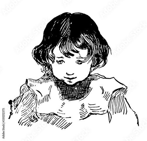 Canvastavla A innocent face of a boy, vintage engraving.