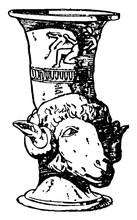 Greek Vase Is A Drinking Horn Often Shaped, Vintage Engraving.