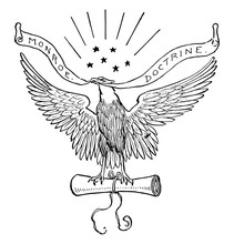 Monroe Doctrine, Vintage Illustration