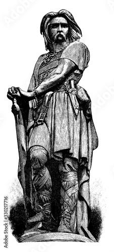 Fotografie, Obraz Vercingetorix Statue, vintage engraving.