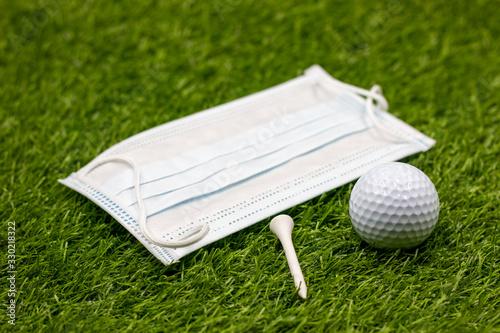 Face mask for golfer to play golf Fototapeta
