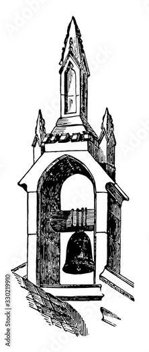 Photo Belfry in Idbury Oxfordshire, enclosing bells,  vintage engraving
