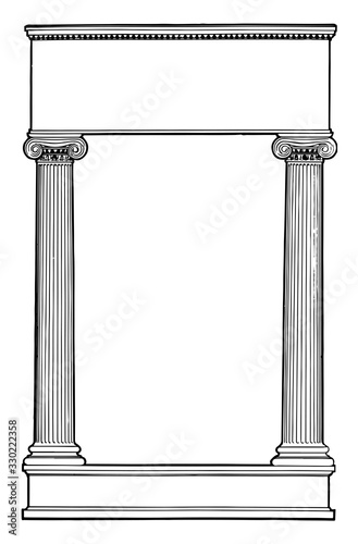 Ionic Columns have two pillar left and right side in this pattern, vintage engraving Fotobehang