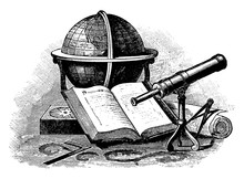 Still Life With Globe, Telescope, Vintage Illustration