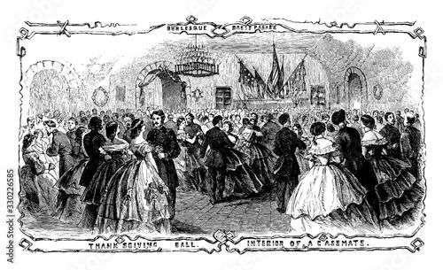 Cuadros en Lienzo Thanksgiving Ball, Forty-eighth Regiment,  vintage engraving.