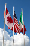 Flags of 3 USMCA countries made up of USA, Canada and Mexico