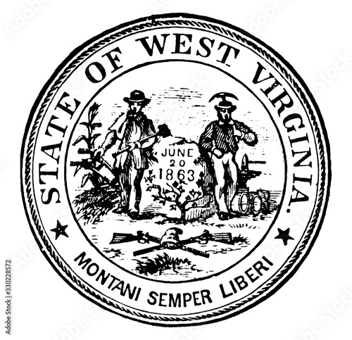 Seal of the state of West Virginia, 1904, vintage illustration Canvas-taulu