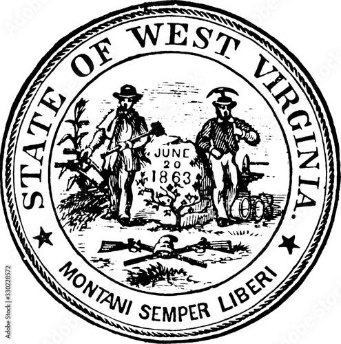 Seal of the state of West Virginia, 1904, vintage illustration Tapéta, Fotótapéta
