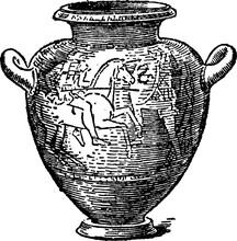 Stamnos Is A Wine Jar, Vintage Engraving.